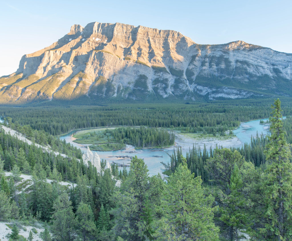 Mount Rundle and Bow River from Hoodoo Trail Overlook