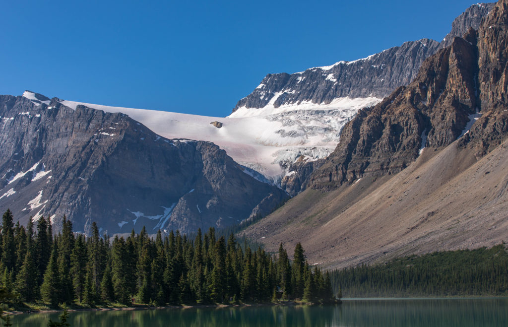 Glacier and Lake along Icefields Parkway